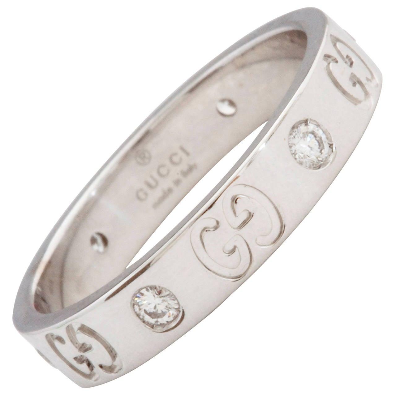 Gucci Diamond Gold Band Ring at 1stdibs