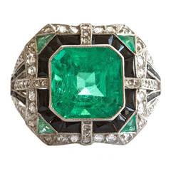Colombian Six Carat Emerald Platinum Ring