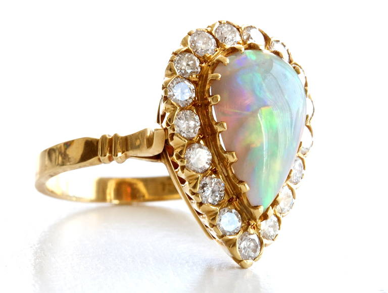 Opal Diamond Gold Ring 2