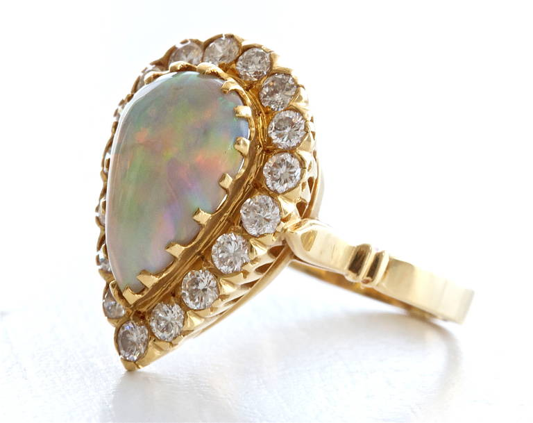 Opal Diamond Gold Ring 3
