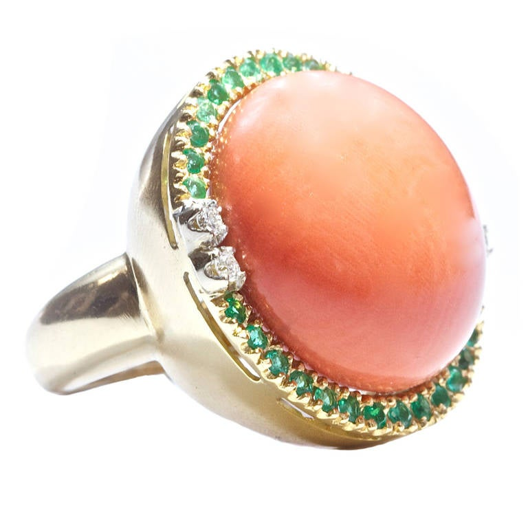 large coral emerald gold ring at 1stdibs