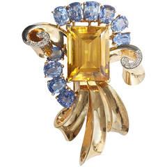 Retro Trabert & Hoeffer Mauboussin Citrine Sapphire Diamond Gold Brooch