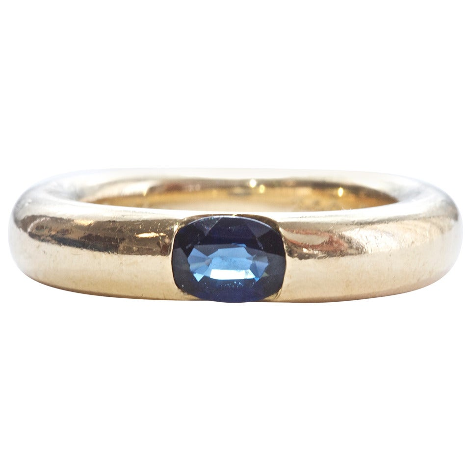 Cartier Yellow Gold Panthere Sapphire Ring