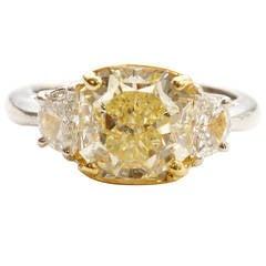 Fancy Yellow Diamond Platinum Engagement Ring
