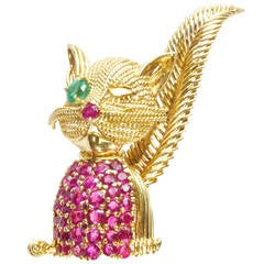 Tiffany & Co. Ruby Emerald Gold Cat Brooch