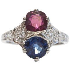 Art Deco Natural Ruby Sapphire Platinum Ring