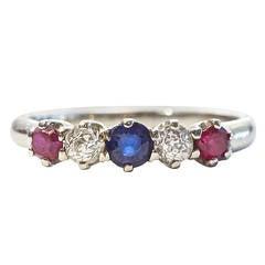Art Deco Ruby Sapphire Diamond Gold Ring