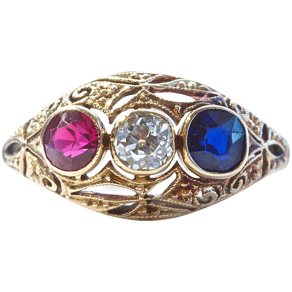 Ruby sapphire diamond gold ring at 1stdibs for Man made sapphire jewelry