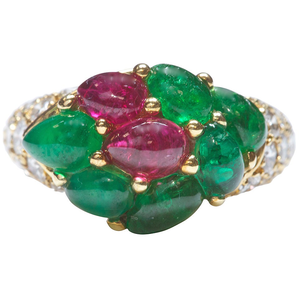 emerald ruby gold ring at 1stdibs