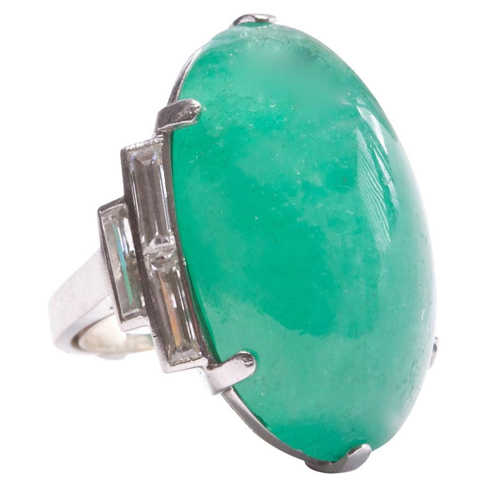 deco 50 carat emerald platinum ring at 1stdibs