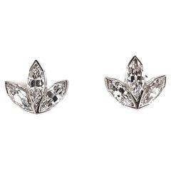 Vintage Stud Earrings Marquise Diamond Platinum Stud Earrings