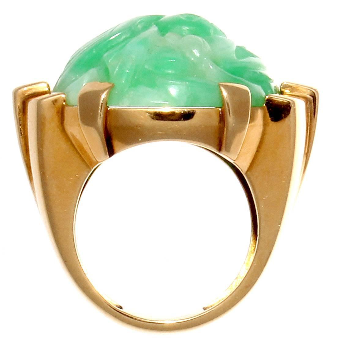 carved jade gold ring for sale at 1stdibs