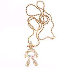 Chopard Happy Clown Ruby Emerald Sapphire Diamond Gold Necklace