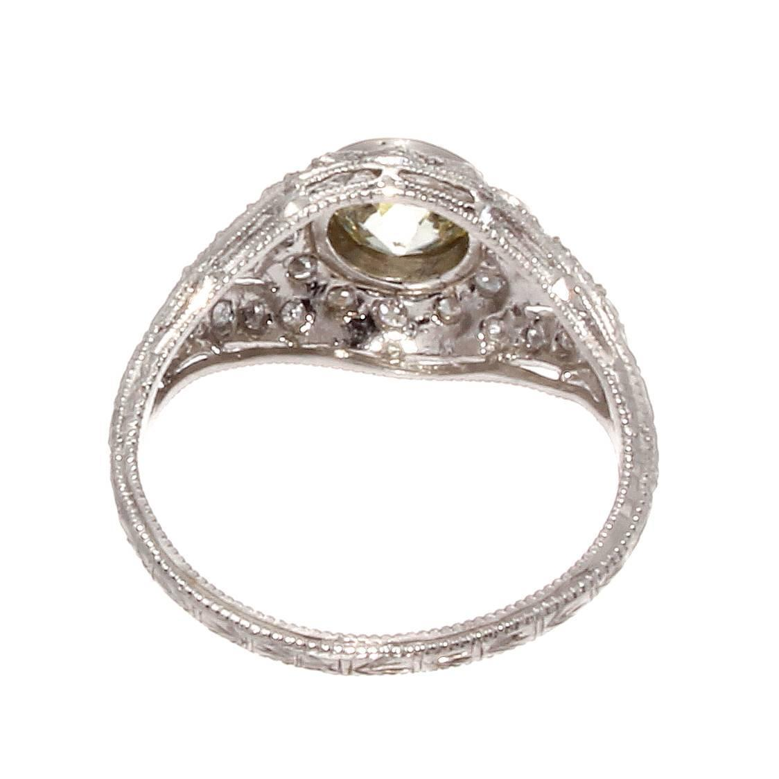deco platinum engagement ring at 1stdibs