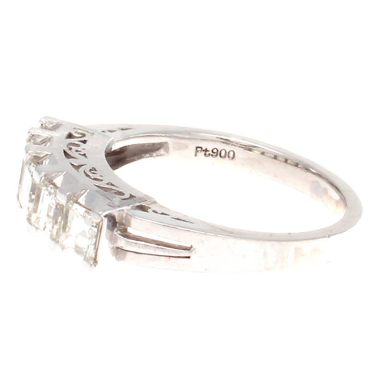 Asscher Cut Diamond Platinum Ring at 1stdibs