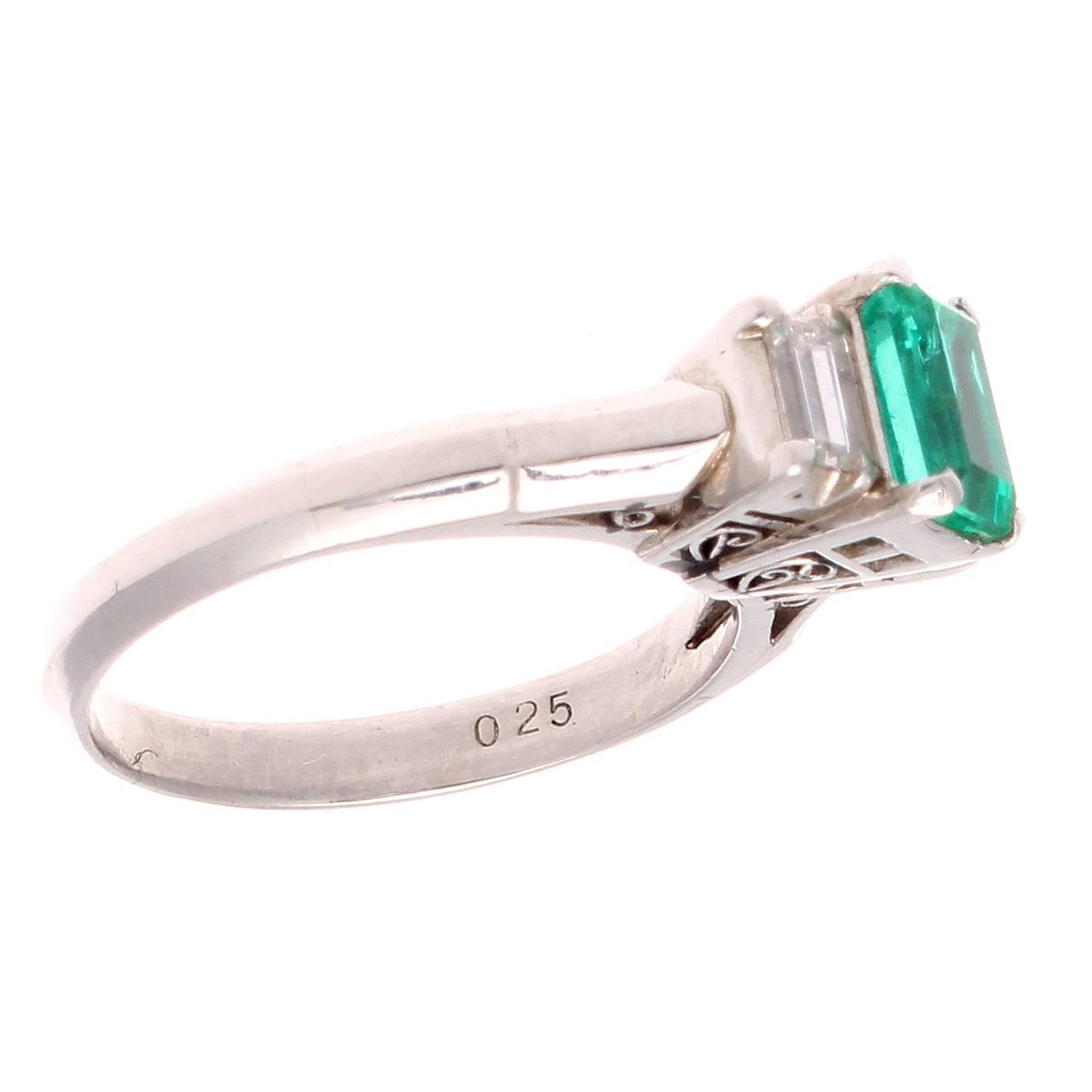 emerald platinum engagement ring at 1stdibs