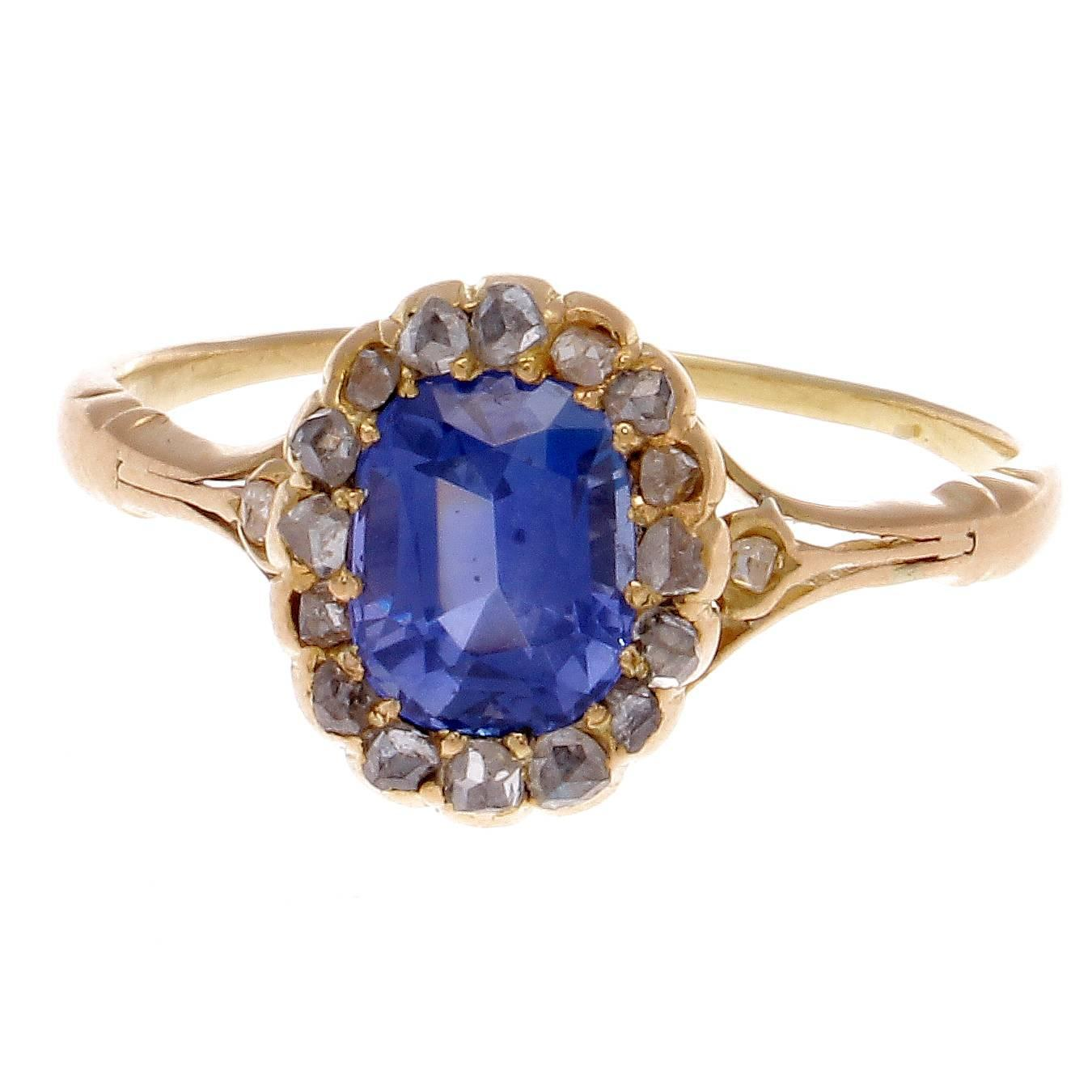 Antique Sapphire Diamond Gold Engagement Ring at 1stdibs
