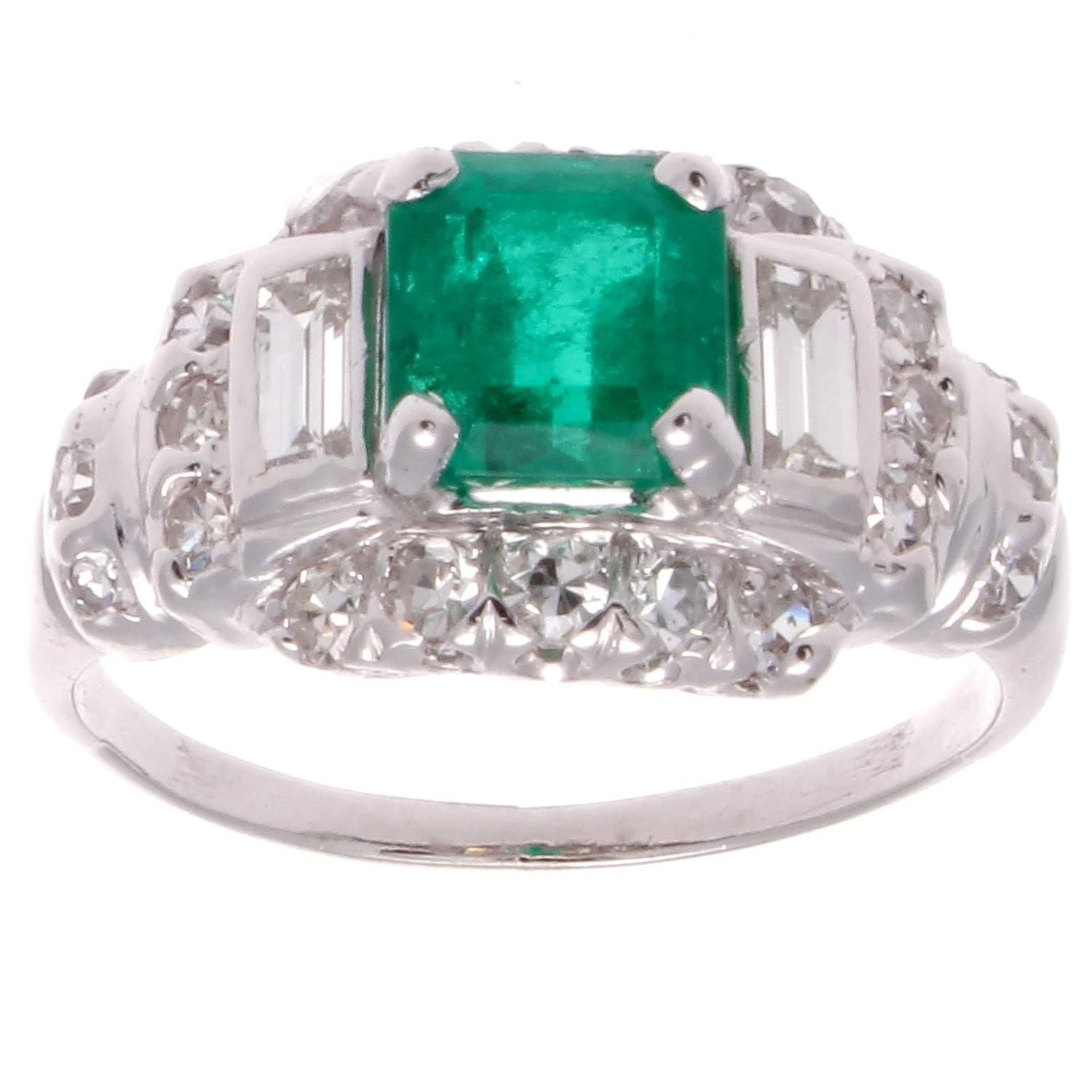 Art Deco Emerald Diamond Platinum Engagement Ring at 1stdibs