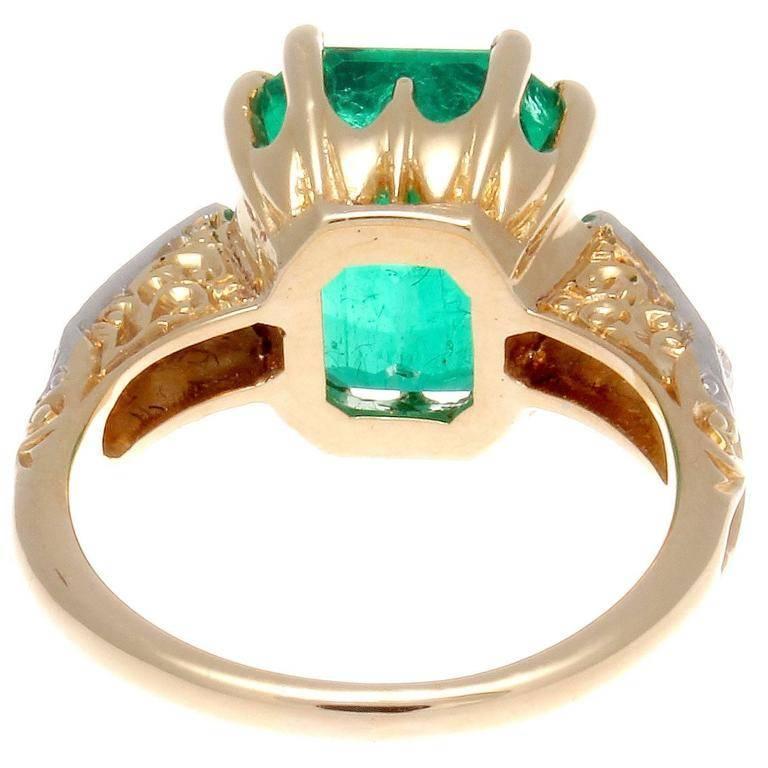 Women's 5 Carat Colombian Emerald Diamond Gold Ring