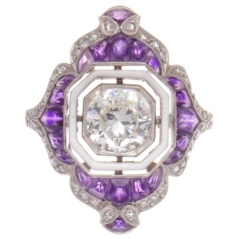 enamel amethyst platinum engagement ring at 1stdibs