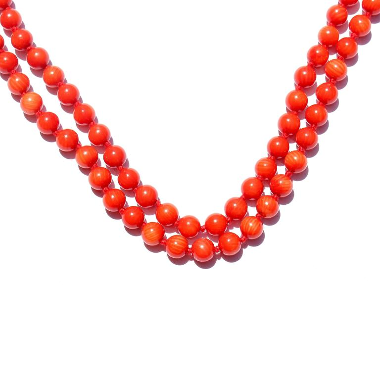 coral bead gold necklace at 1stdibs