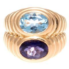 Bulgari Topaz Amethyst Gold Ring
