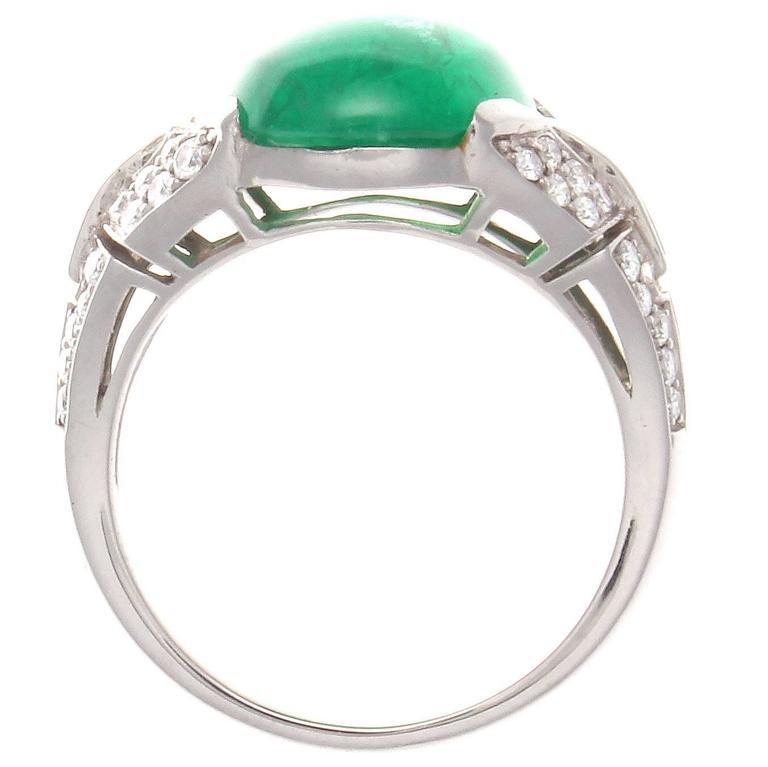 deco cabochon emerald platinum ring at 1stdibs