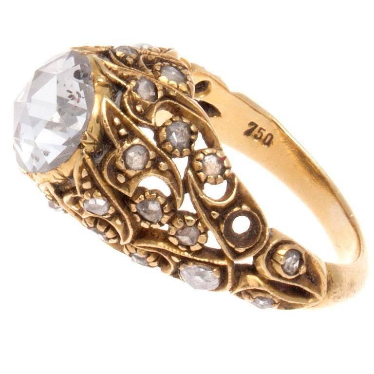 Turkish Rose Cut Diamond Gold Ring at 1stdibs