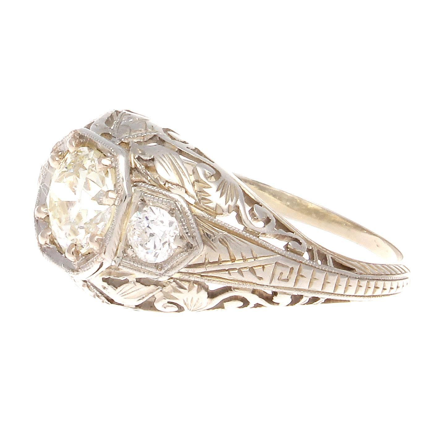 deco gold engagement ring at 1stdibs