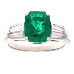 Colombian Emerald Diamond Platinum Engagement Ring