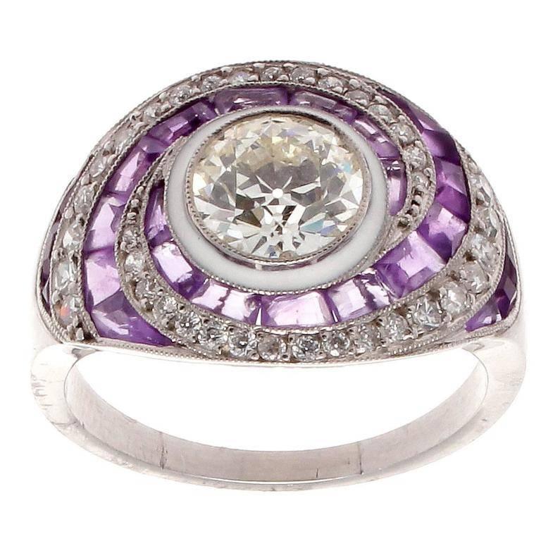 amethyst platinum engagement ring at 1stdibs