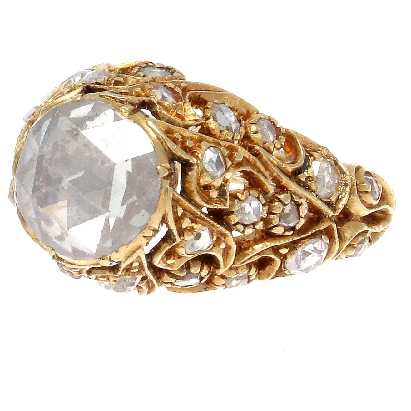 Turkish Rose Cut Diamond Gold Ring For Sale At 1stdibs