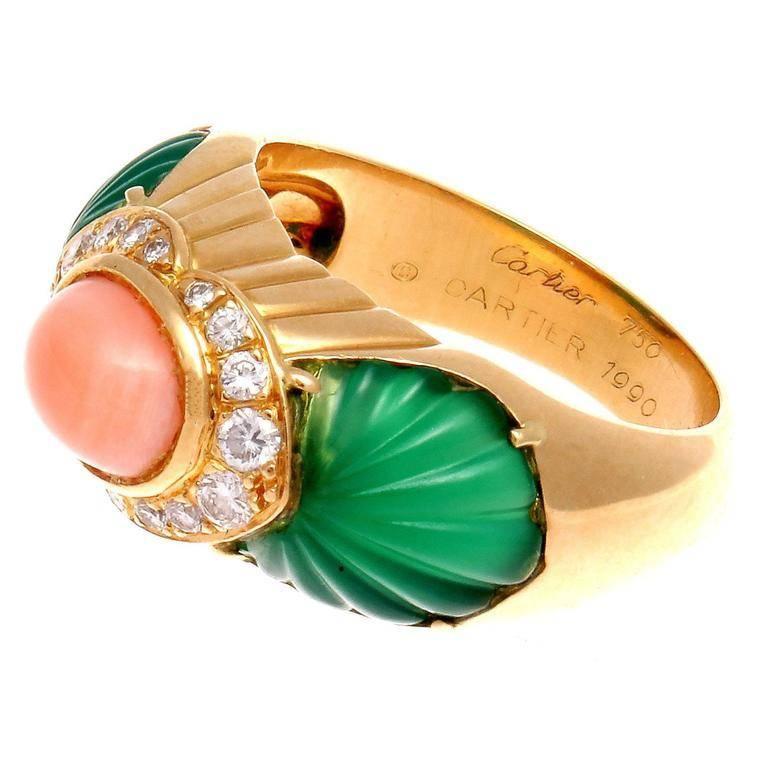 Modern Cartier Coral Chrysophrase Diamond Gold Ring