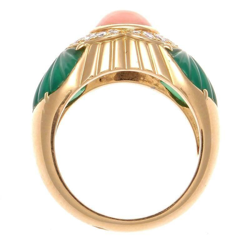 Cartier Coral Chrysophrase Diamond Gold Ring In Excellent Condition In Beverly Hills, CA