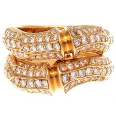 Cartier Diamond Gold Bamboo Ring