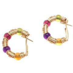 Bulgari Gemstone Gold Hoop Earrings