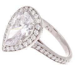 GIA 2.31 Carat Pear Shaped Diamond Platinum Engagement Ring