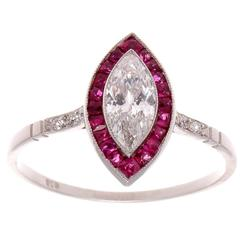 Ruby Diamond Platinum Engagement Ring