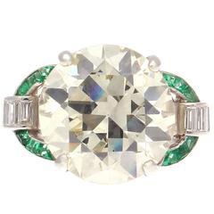 Art Deco 6.09 Carat Diamond Emerald Platinum Ring