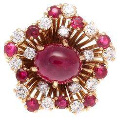 French Natural Burma Ruby Diamond Gold Ring