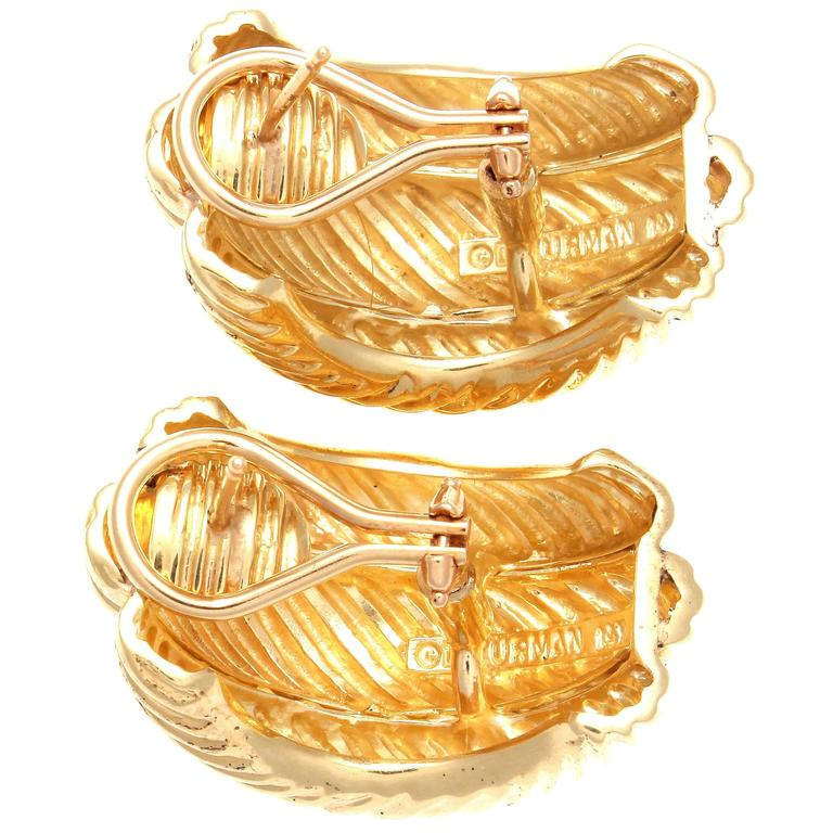 Modern David Yurman Gold Cable Half Hoop Earrings For Sale