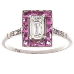 Emerald Cut Diamond Pink Sapphire Platinum Ring