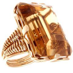 French Retro Citrine Rose Gold Ring