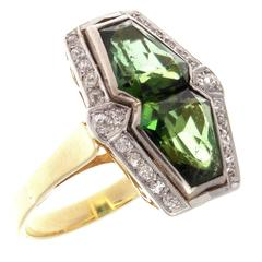 French Early Art Deco Tourmaline Diamond Gold Platinum Ring