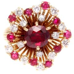 French Retro Ruby Diamond Gold Flower Ring
