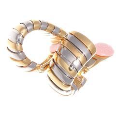 Bulgari Gold Steel Hoop Earrings