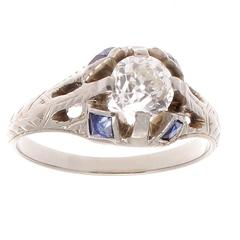 Art Deco Sapphire Diamond Platinum Gold Ring