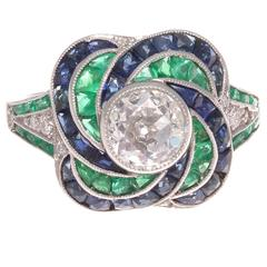 Modern Old European Cut Diamond Emerald Sapphire Platinum Engagement Ring