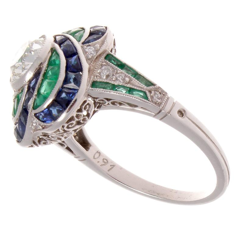 Modern Old European Cut Diamond Emerald Sapphire Platinum ...
