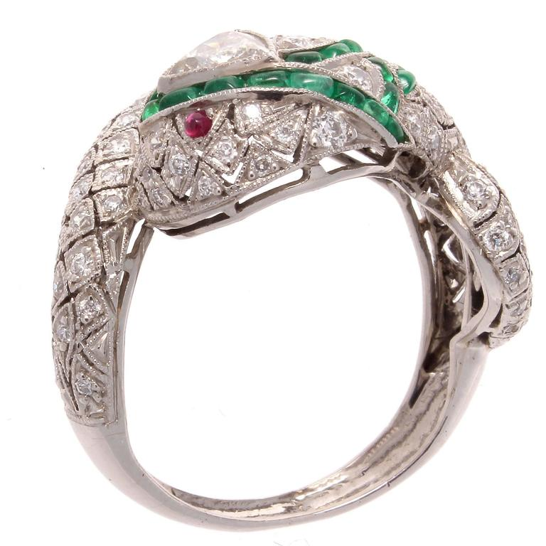 emerald ruby platinum snake ring for sale at 1stdibs